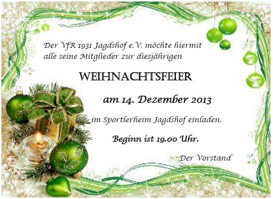 Einladung - Weihnachstfeier 2013
